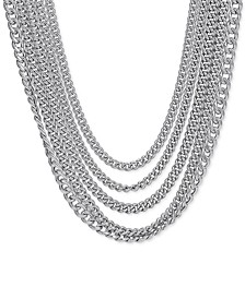 "Multi-Row Curb Link 19-1/2"" Statement Necklace in Sterling Silver"