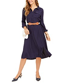 Jacquard Dot Button-Front Belted Dress, Created for Macy's