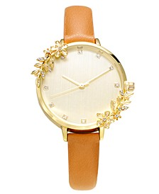 INC Women's Brown Faux Leather Strap Watch 36mm, Created for Macy's