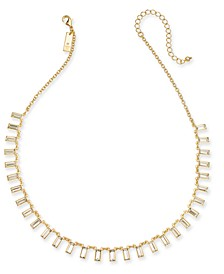 "INC Baguette Crystal Collar Necklace, 17"" + 3"" extender, Created for Macy's"