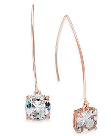INC Rose Gold-Tone Cubic Zirconia Square Linear Drop Earrings, Created for Macy's