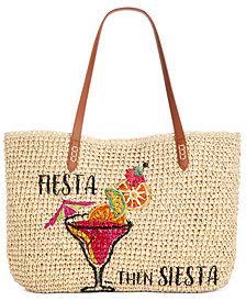 INC Tropical Straw Tote, Created for Macy's