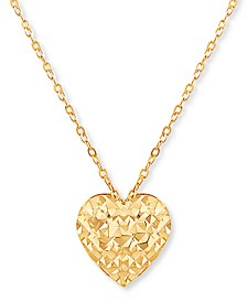 "Textured Heart 17"" Pendant Necklace in 10k Gold"