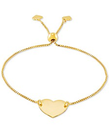 Polished Heart Bolo Bracelet in 18k Gold-Plated Sterling Silver, Created for Macy's