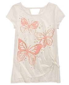 Big Girls Side Tie Butterfly-Print T-Shirt, Created For Macy's