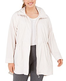 Plus Size Hooded Longline Rain Jacket, Created for Macy's