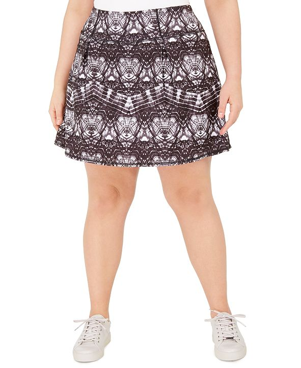 Ideology Plus Size Tie-Dyed A-Line Skort, Created for Macy's