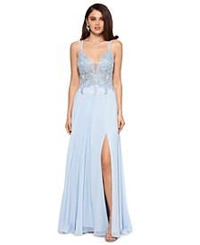 Embroidered-Top Strappy-Back Gown