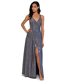 V-Front Allover-Glitter Gown
