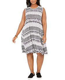 Plus Size Mixed-Print Dress, Created For Macy's
