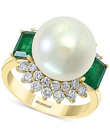 EFFY® Cultured Freshwater Pearl (12mm), Emerald (1 ct. t.w.) & Diamond (3/4 ct. t.w.) Statement Ring in 14k Gold