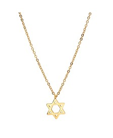 18K Micron Gold Plated Stainless Steel Star of David Pendant Necklace