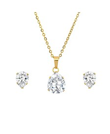 18K Micron Gold Plated Stainless Steel Pear Shaped Pendant Necklace Set, 2 Piece