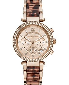 Women's Chronograph Parker Rose Gold-Tone Stainless Steel & Tort Acetate Bracelet Watch 39mm