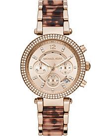 Michael Kors Women's Chronograph Parker Rose Gold-Tone Stainless Steel & Tort Acetate Bracelet Watch 39mm