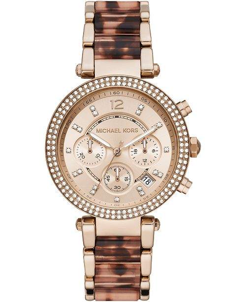 Michael Kors Women's Chronograph Parker Rose Gold-Tone Stainless Steel & Tort Acetate Bracelet Watch 39mm