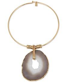 "Gold-Tone Stone Sculptural Circle 16-1/2"" Wire Collar Pendant Necklace"
