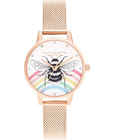 Women's Iconic Bee Rose Gold-Tone Stainless Steel Mesh Bracelet Watch 30mm