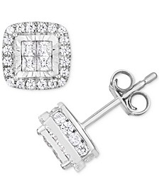 TruMiracle® Diamond Princess Halo Cluster Stud Earrings (1 ct. t.w.) in 14k White Gold
