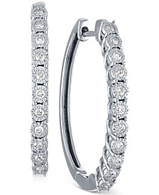 Diamond Small Hoop Earrings (1/4 ct. t.w.) in 10k White Gold, 1""