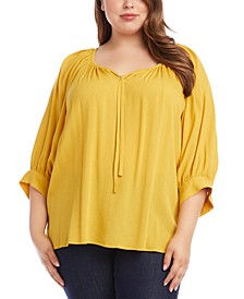 Plus Size Blouson-Sleeve Peasant Top