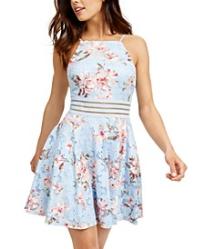 Juniors' Floral-Print Lace Fit & Flare Dress