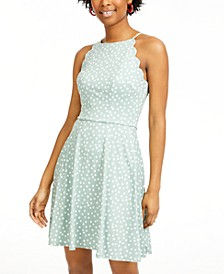 Juniors' Polka Dot Scalloped Fit & Flare Dress