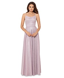 Allover-Glitter Tie-Back Gown