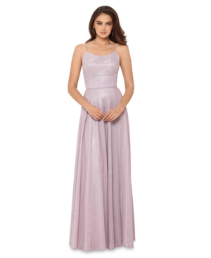 Betsy & Adam Allover-Glitter Tie-Back Gown