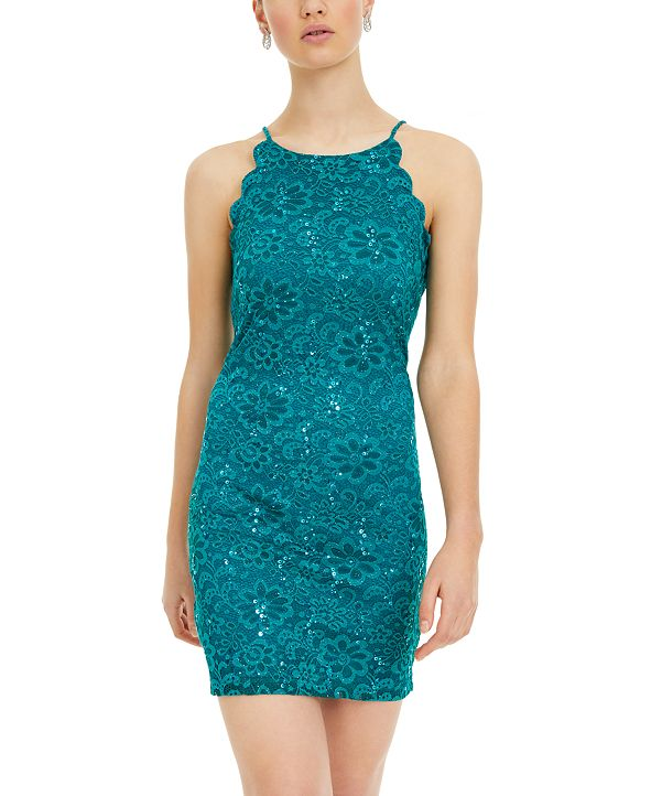 BCX Juniors' Scalloped Lace Bodycon Dress