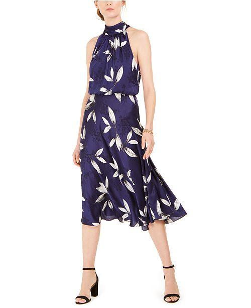 Adrianna Papell Tossed Leaves Midi Dress