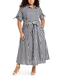 Plus Size Gingham Maxi Dress