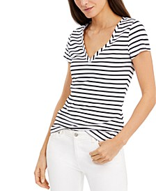 INC Plus Size Cotton Printed V-Neck Top, Created for Macy's