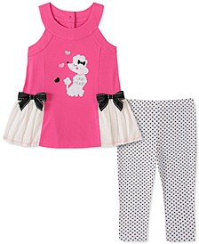 Little Girls 2-Pc. Poodle Tunic & Printed Leggings Set