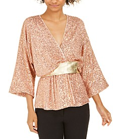 Harrison Sequined Metallic Top