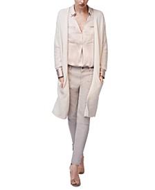 Textured Cotton Open Cardigan