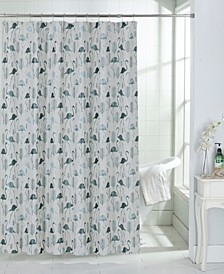 Flamingo Tropical Pattern Fabric Shower Curtain