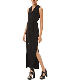Tie-Waist Sleeveless Shirtdress, Regular & Petite Sizes