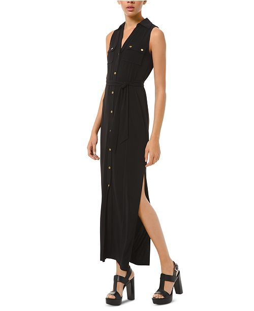 Michael Kors Tie-Waist Sleeveless Shirtdress, Regular & Petite