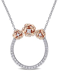 Created White Sapphire (3/5 ct. t.w.) Rose Floral Open Circle Necklace in Two-Tone Sterling Silver