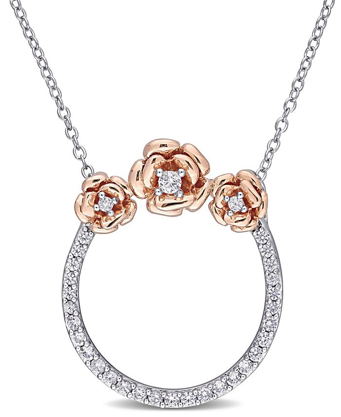 Macy's - Created White Sapphire (3/5 ct. t.w.) Rose Floral Open Circle Necklace in Two-Tone Sterling Silver