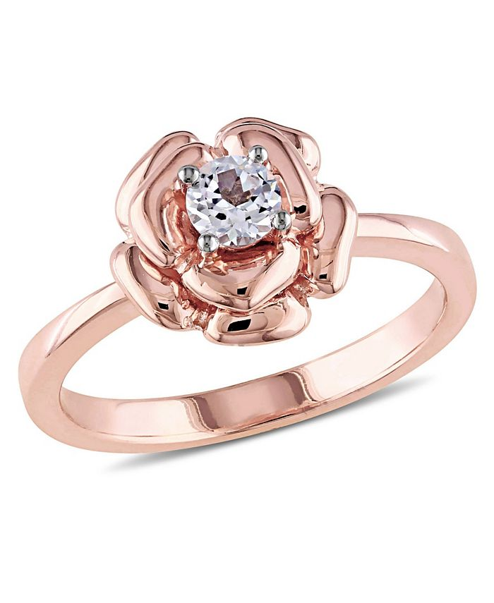 Macy's - Created White Sapphire (1/3 ct. t.w.) Floral Ring in 18k Rose Gold Over Sterling Silver