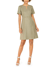 Elie Tahari Ariel Fringe-Trim Split-Neck Dress