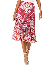 Delilah Mixed-Print Pleated Skirt