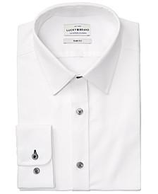 Men's Slim-Fit Performance Stretch White Solid Oxford Dress Shirt