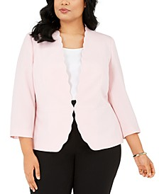 Plus Size Scalloped Stretch Crepe Blazer