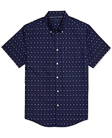 Men's Armstrong Custom-Fit Geo-Print Shirt with Magnetic Buttons