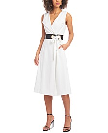 Belted Fit & Flare Midi Dress