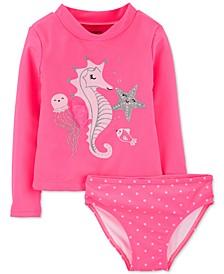 Baby Girls 2-Pc. Seahorse Rash Guard & Bottoms Set
