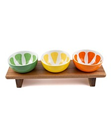 CLOSEOUT! Footed Wood Board with 3 Ceramic Citrus Bowls